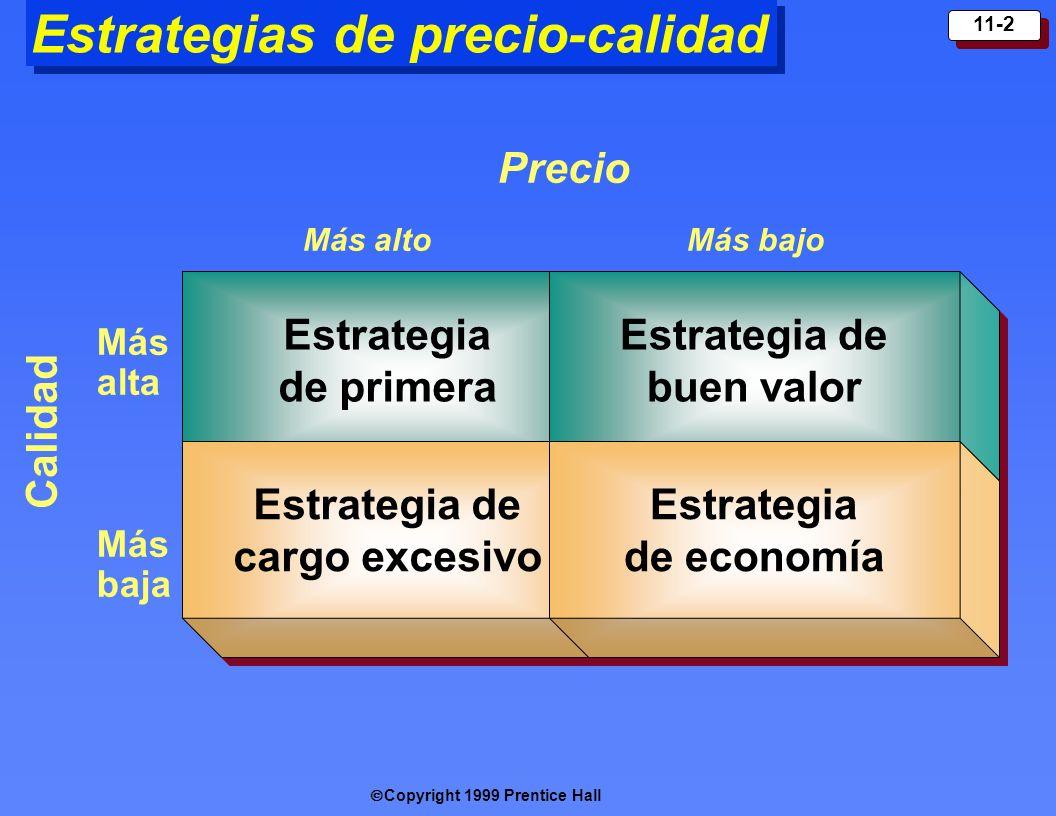 Copyright 1999 Prentice Hall 11-2 Estrategias de precio-calidad Estrategia de primera Estrategia de cargo excesivo Estrategia de buen valor Estrategia