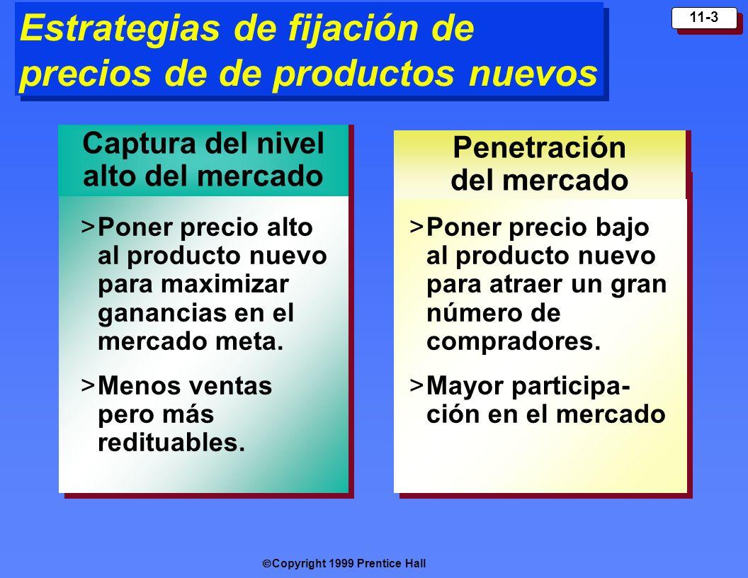 Copyright 1999 Prentice Hall 11-3 Estrategias de fijación de precios de de productos nuevos Captura del nivel alto del mercado Penetración del mercado