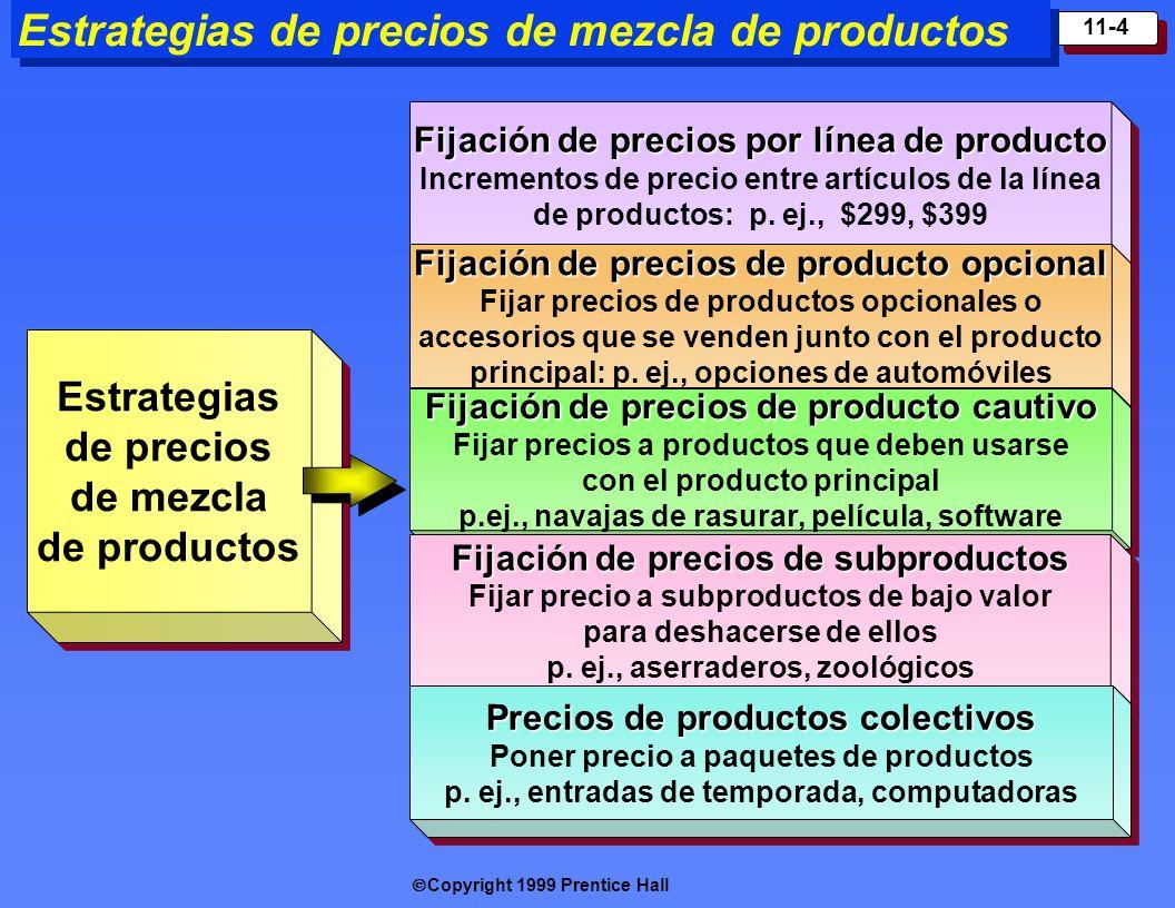 Copyright 1999 Prentice Hall 11-4 Fijación de precios por línea de producto Incrementos de precio entre artículos de la línea de productos: p. ej., $2