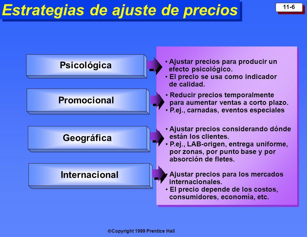 Copyright 1999 Prentice Hall 11-6 Estrategias de ajuste de precios Ajustar precios para producir un efecto psicológico. El precio se usa como indicado