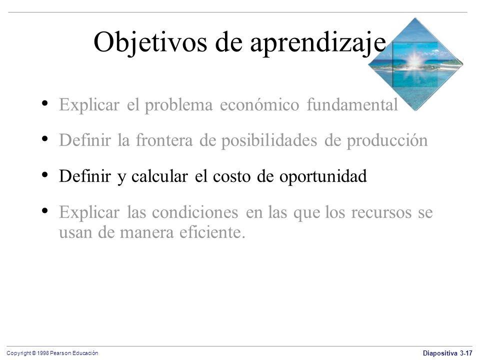 Diapositiva 3-17 Copyright © 1998 Pearson Educación Objetivos de aprendizaje Explicar el problema económico fundamental Definir la frontera de posibil