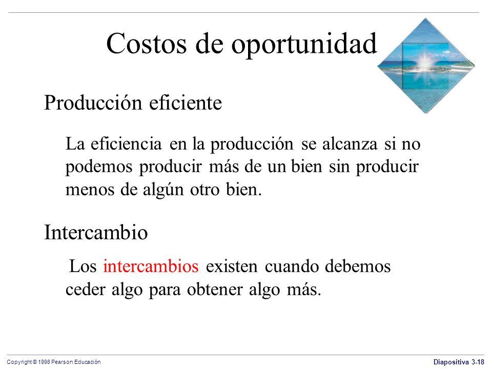 Diapositiva 3-18 Copyright © 1998 Pearson Educación Costos de oportunidad Producción eficiente La eficiencia en la producción se alcanza si no podemos