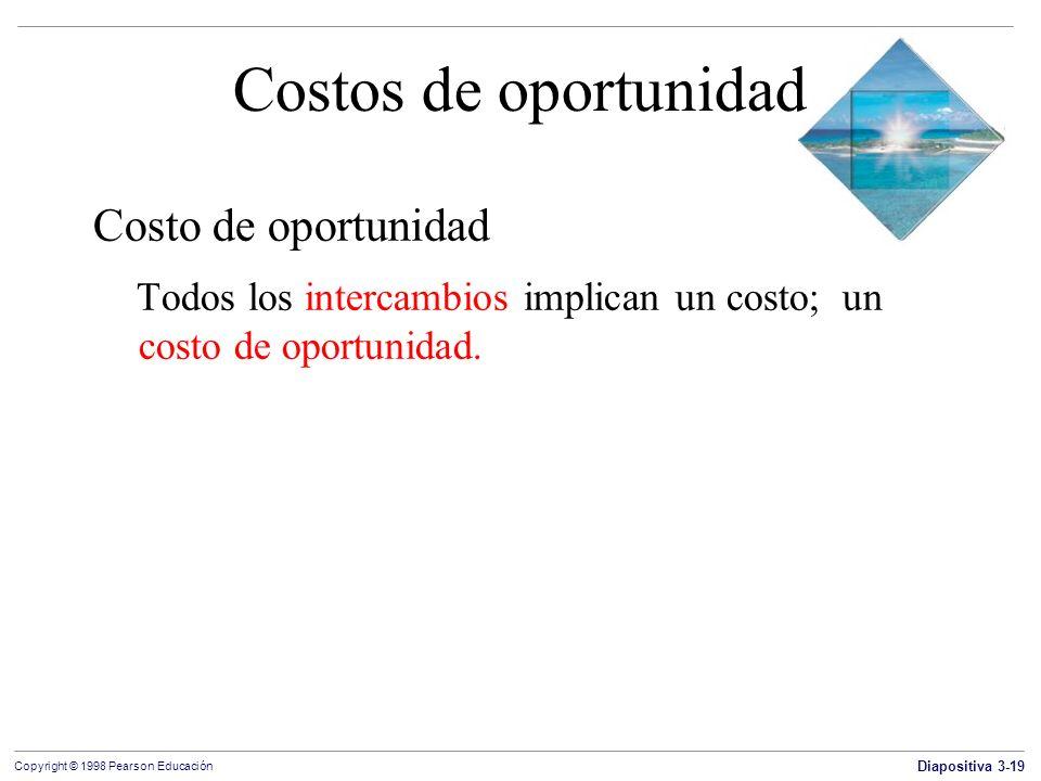 Diapositiva 3-19 Copyright © 1998 Pearson Educación Costos de oportunidad Costo de oportunidad Todos los intercambios implican un costo; un costo de o