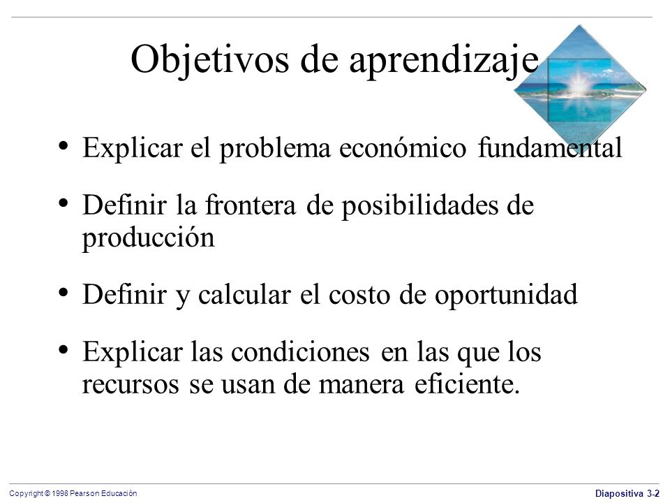 Diapositiva 3-13 Copyright © 1998 Pearson Educación Objetivos de aprendizaje Explicar el problema económico fundamental Definir la frontera de posibilidades de producción Definir y calcular el costo de oportunidad Explicar las condiciones en las que los recursos se usan de manera eficiente.