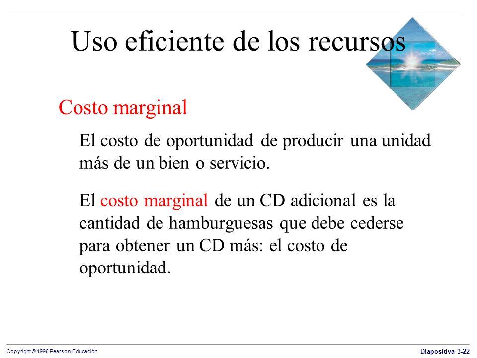 Diapositiva 3-22 Copyright © 1998 Pearson Educación Uso eficiente de los recursos Costo marginal El costo de oportunidad de producir una unidad más de