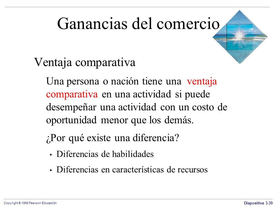 Diapositiva 3-39 Copyright © 1998 Pearson Educación Ganancias del comercio Ventaja comparativa Una persona o nación tiene una ventaja comparativa en u