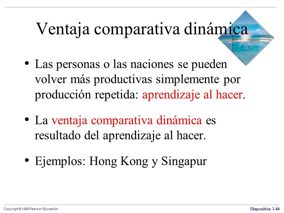 Diapositiva 3-44 Copyright © 1998 Pearson Educación Ventaja comparativa dinámica Las personas o las naciones se pueden volver más productivas simpleme