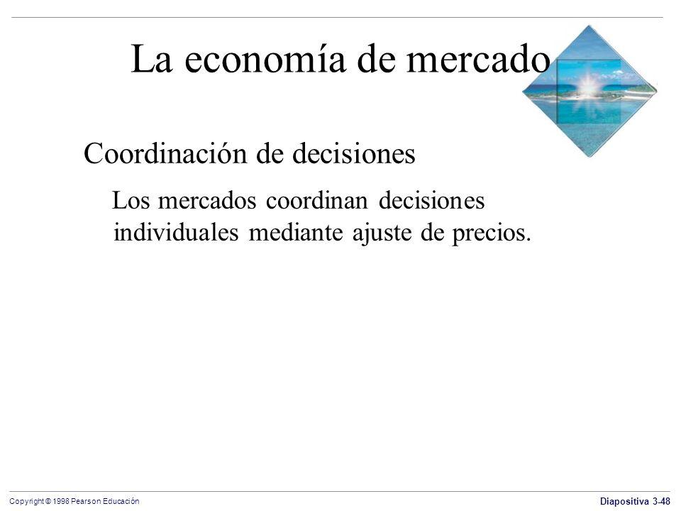 Diapositiva 3-48 Copyright © 1998 Pearson Educación La economía de mercado Coordinación de decisiones Los mercados coordinan decisiones individuales m