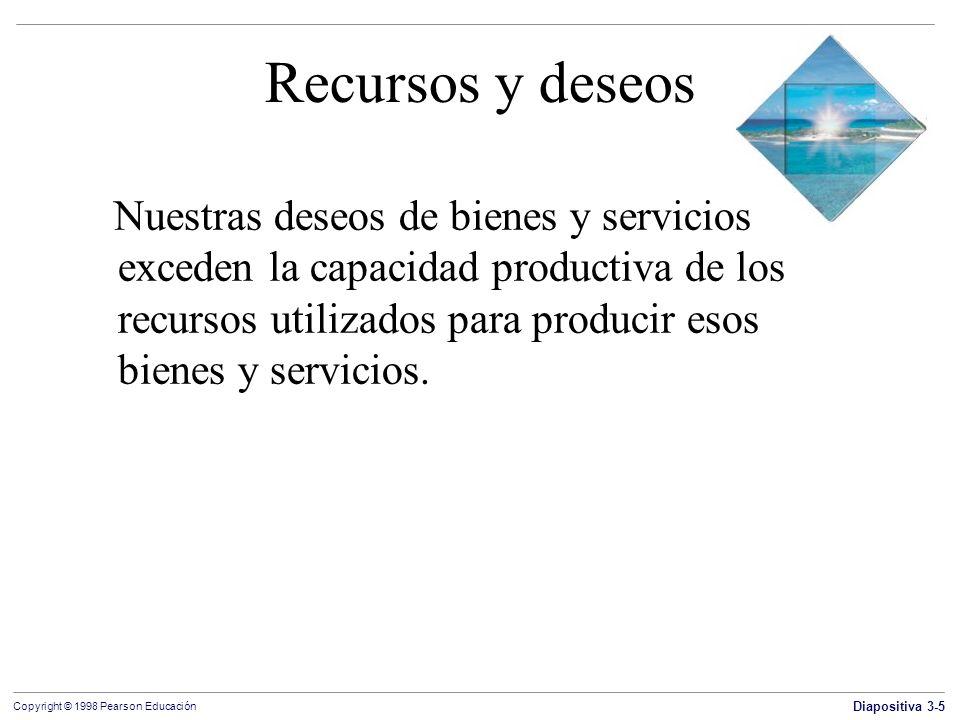 Diapositiva 3-5 Copyright © 1998 Pearson Educación Recursos y deseos Nuestras deseos de bienes y servicios exceden la capacidad productiva de los recu