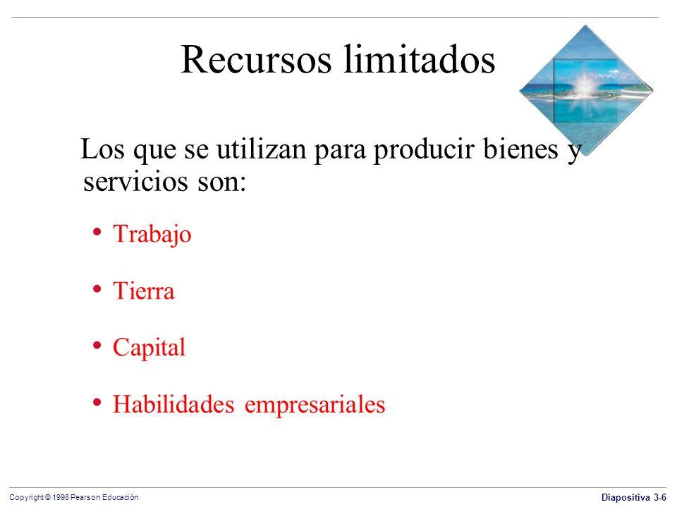 Diapositiva 3-6 Copyright © 1998 Pearson Educación Recursos limitados Los que se utilizan para producir bienes y servicios son: Trabajo Tierra Capital