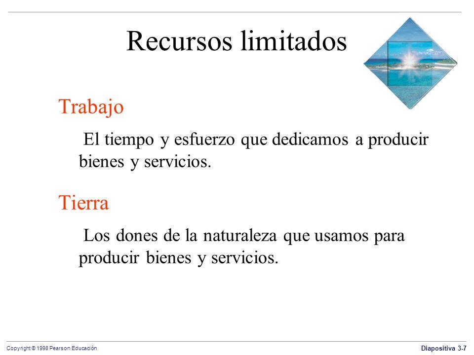 Diapositiva 3-7 Copyright © 1998 Pearson Educación Recursos limitados Trabajo El tiempo y esfuerzo que dedicamos a producir bienes y servicios. Tierra