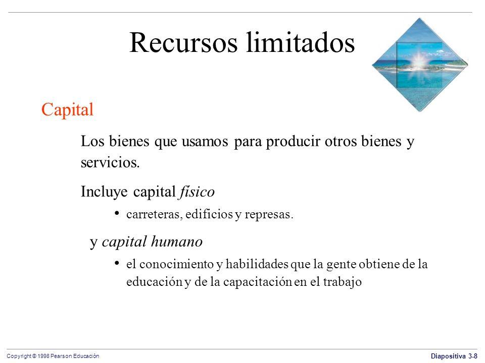 Diapositiva 3-8 Copyright © 1998 Pearson Educación Recursos limitados Capital Los bienes que usamos para producir otros bienes y servicios. Incluye ca