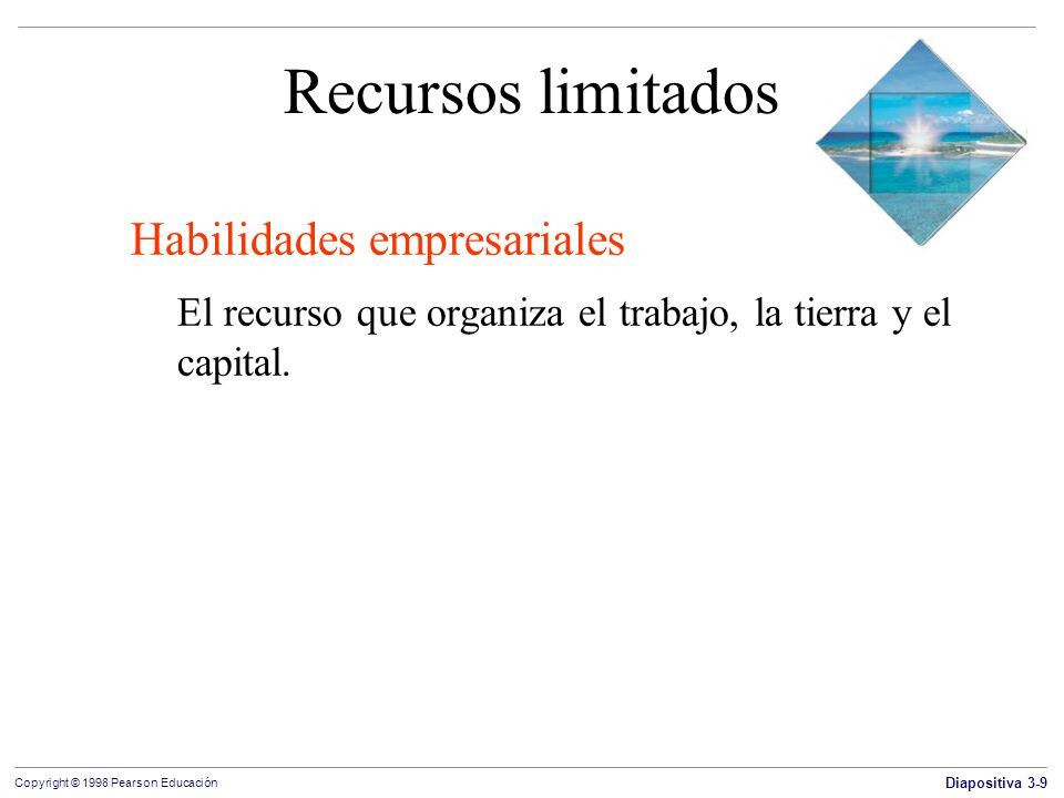 Diapositiva 3-9 Copyright © 1998 Pearson Educación Recursos limitados Habilidades empresariales El recurso que organiza el trabajo, la tierra y el cap