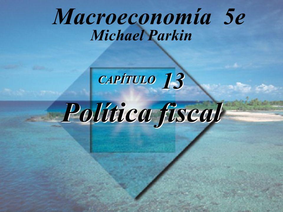 Diapositiva 13-1 Copyright © 2000 Pearson Educación CAPÍTULO 13 Política fiscal Michael Parkin Macroeconomía 5e