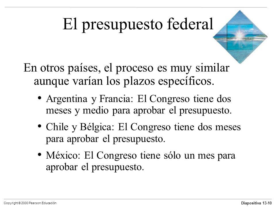 Diapositiva 13-10 Copyright © 2000 Pearson Educación El presupuesto federal En otros países, el proceso es muy similar aunque varían los plazos especí