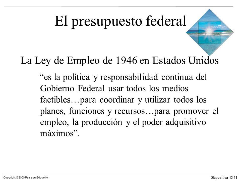 Diapositiva 13-11 Copyright © 2000 Pearson Educación El presupuesto federal La Ley de Empleo de 1946 en Estados Unidos es la política y responsabilida