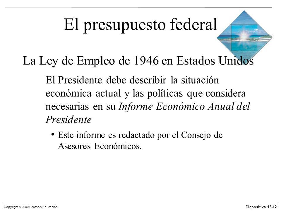 Diapositiva 13-12 Copyright © 2000 Pearson Educación El presupuesto federal La Ley de Empleo de 1946 en Estados Unidos El Presidente debe describir la