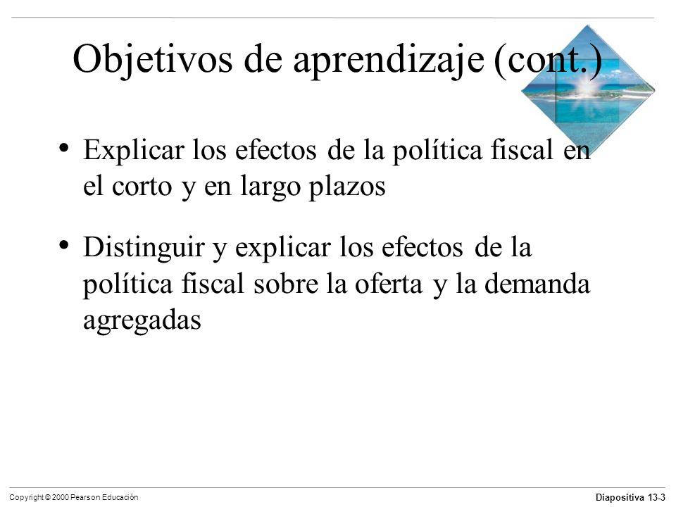 Diapositiva 13-3 Copyright © 2000 Pearson Educación Objetivos de aprendizaje (cont.) Explicar los efectos de la política fiscal en el corto y en largo