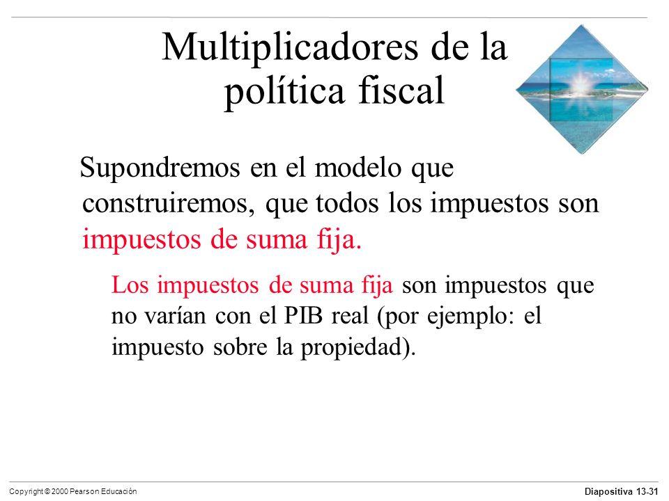 Diapositiva 13-31 Copyright © 2000 Pearson Educación Supondremos en el modelo que construiremos, que todos los impuestos son impuestos de suma fija. L
