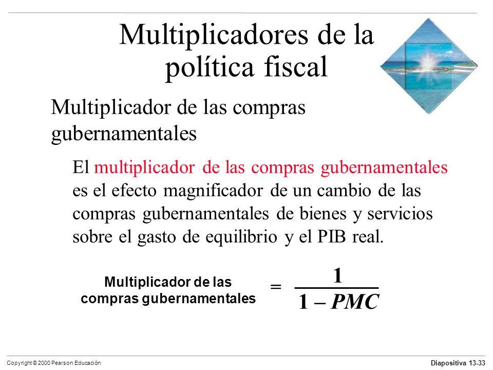 Diapositiva 13-33 Copyright © 2000 Pearson Educación Multiplicador de las compras gubernamentales El multiplicador de las compras gubernamentales es e