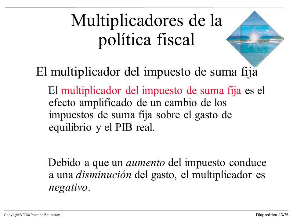 Diapositiva 13-36 Copyright © 2000 Pearson Educación El multiplicador del impuesto de suma fija El multiplicador del impuesto de suma fija es el efect