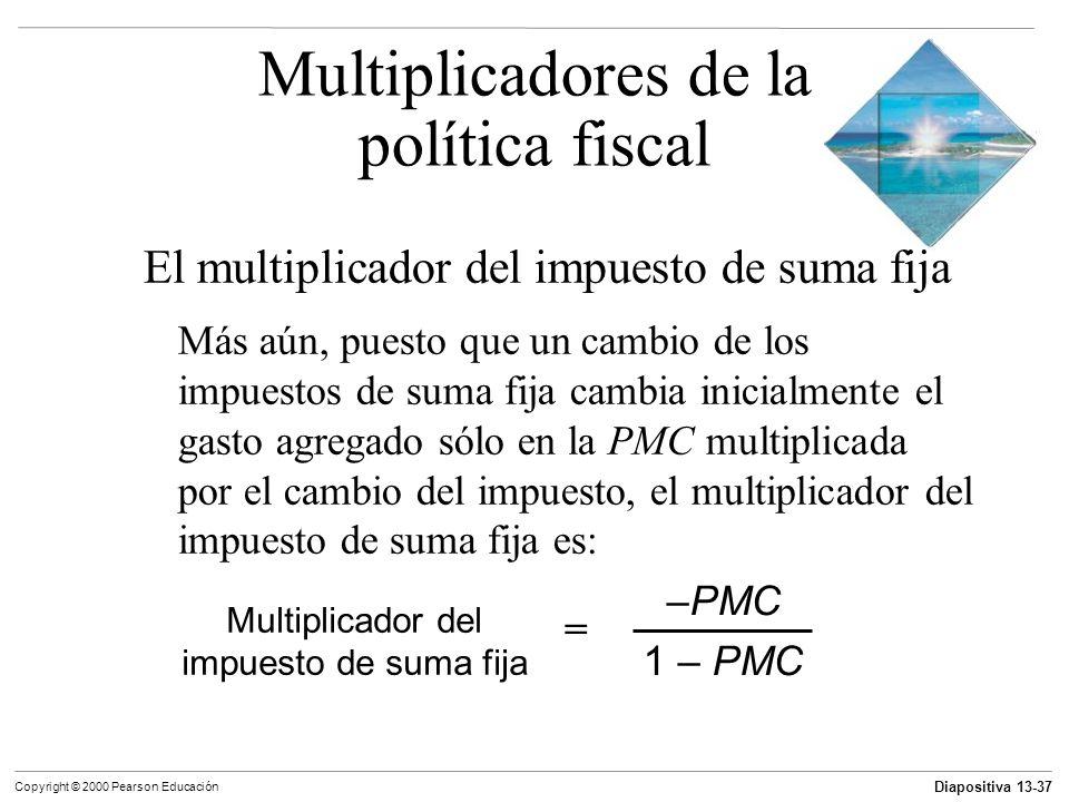 Diapositiva 13-37 Copyright © 2000 Pearson Educación El multiplicador del impuesto de suma fija Más aún, puesto que un cambio de los impuestos de suma