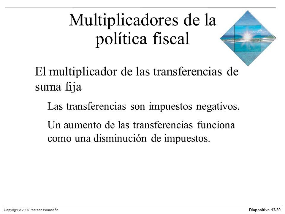 Diapositiva 13-39 Copyright © 2000 Pearson Educación El multiplicador de las transferencias de suma fija Las transferencias son impuestos negativos. U