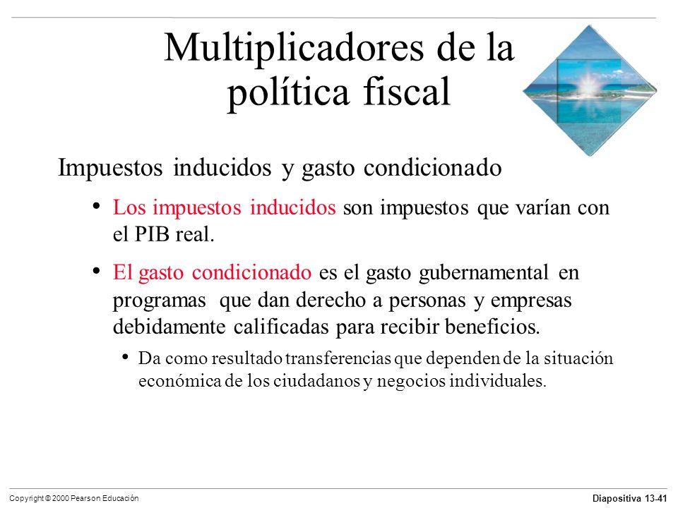 Diapositiva 13-41 Copyright © 2000 Pearson Educación Impuestos inducidos y gasto condicionado Los impuestos inducidos son impuestos que varían con el