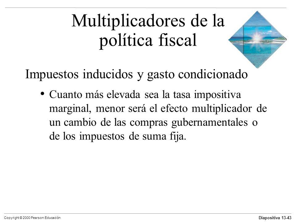 Diapositiva 13-43 Copyright © 2000 Pearson Educación Impuestos inducidos y gasto condicionado Cuanto más elevada sea la tasa impositiva marginal, meno