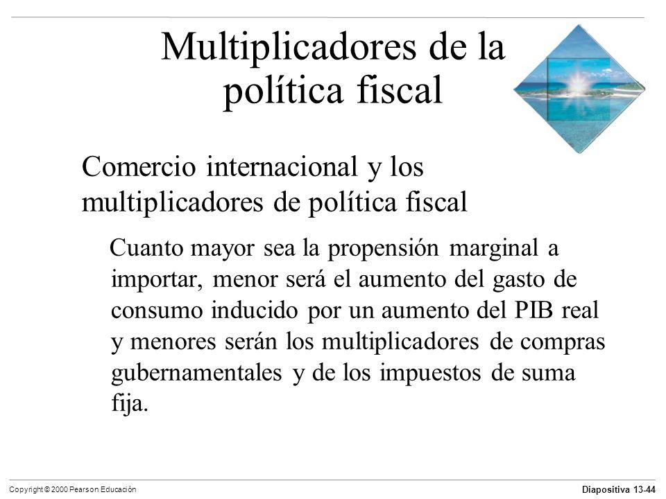 Diapositiva 13-44 Copyright © 2000 Pearson Educación Comercio internacional y los multiplicadores de política fiscal Cuanto mayor sea la propensión ma