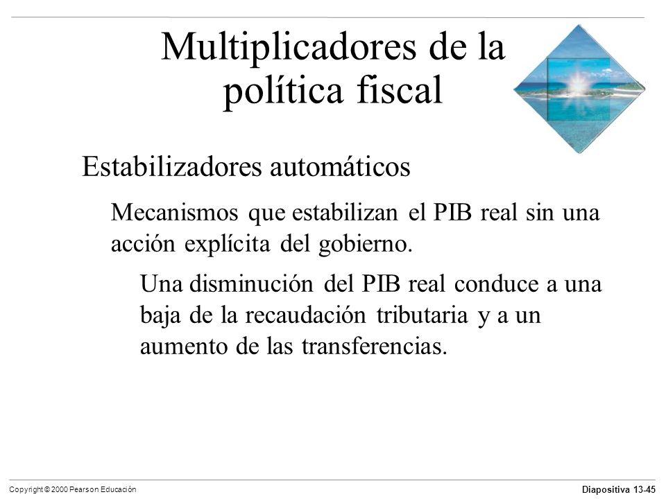 Diapositiva 13-45 Copyright © 2000 Pearson Educación Estabilizadores automáticos Mecanismos que estabilizan el PIB real sin una acción explícita del g