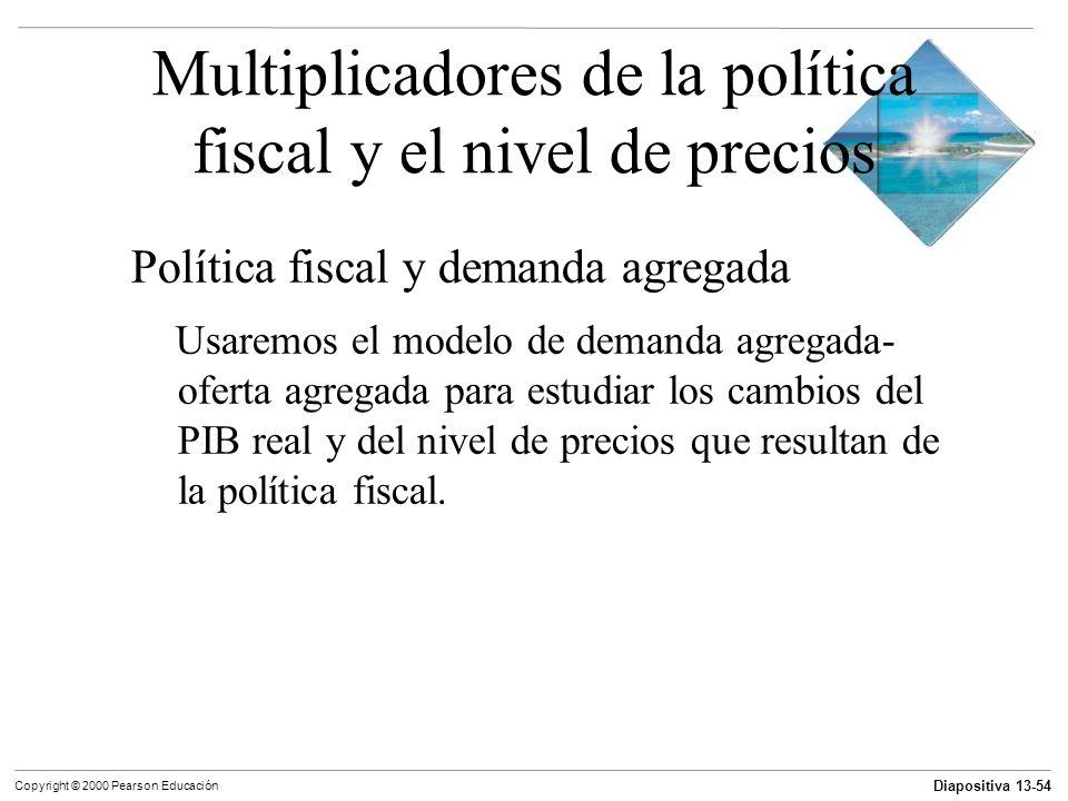 Diapositiva 13-54 Copyright © 2000 Pearson Educación Multiplicadores de la política fiscal y el nivel de precios Política fiscal y demanda agregada Us