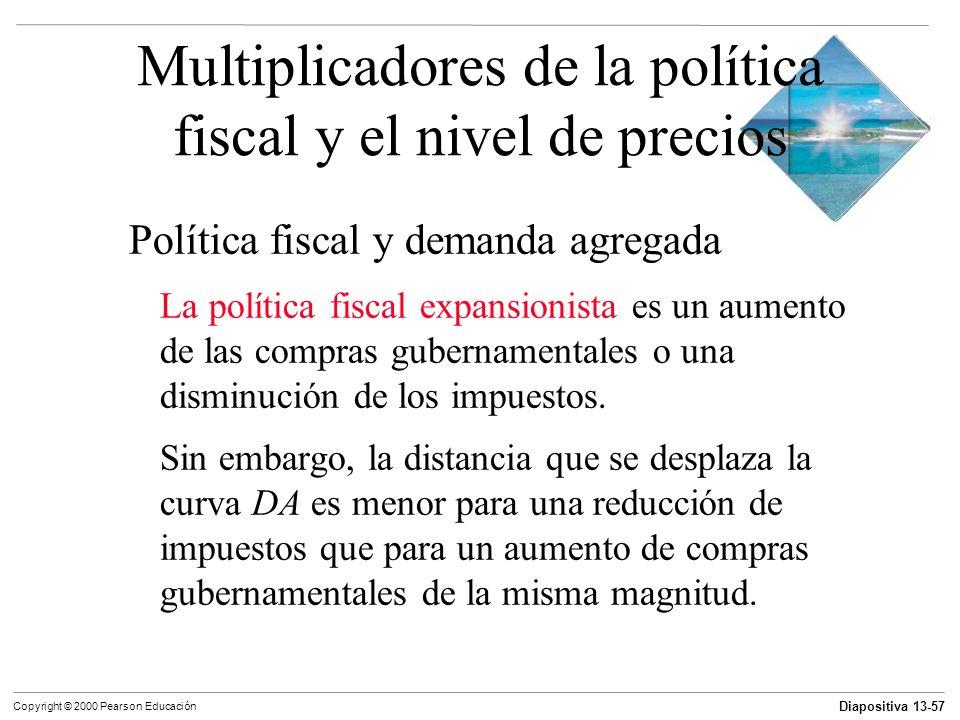 Diapositiva 13-57 Copyright © 2000 Pearson Educación Multiplicadores de la política fiscal y el nivel de precios Política fiscal y demanda agregada La