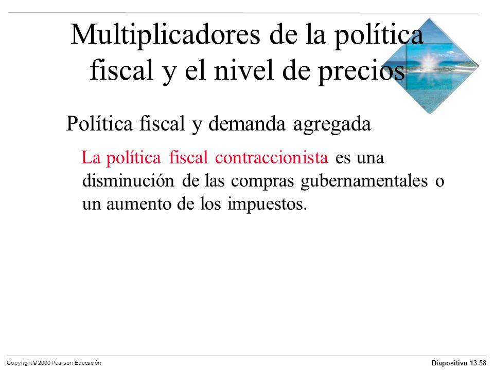 Diapositiva 13-58 Copyright © 2000 Pearson Educación Multiplicadores de la política fiscal y el nivel de precios Política fiscal y demanda agregada La