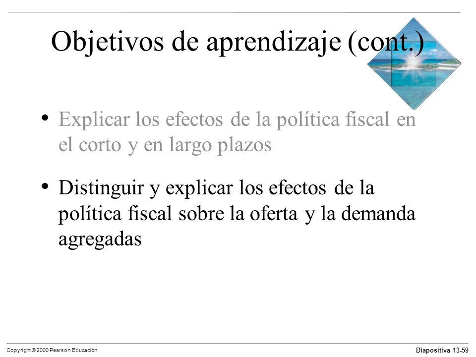 Diapositiva 13-59 Copyright © 2000 Pearson Educación Objetivos de aprendizaje (cont.) Explicar los efectos de la política fiscal en el corto y en larg