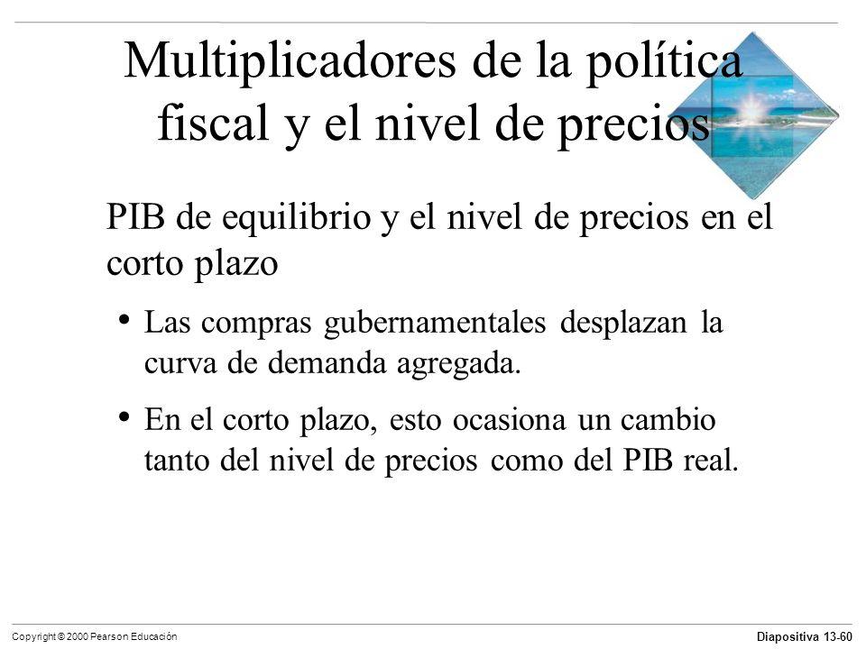Diapositiva 13-60 Copyright © 2000 Pearson Educación Multiplicadores de la política fiscal y el nivel de precios PIB de equilibrio y el nivel de preci