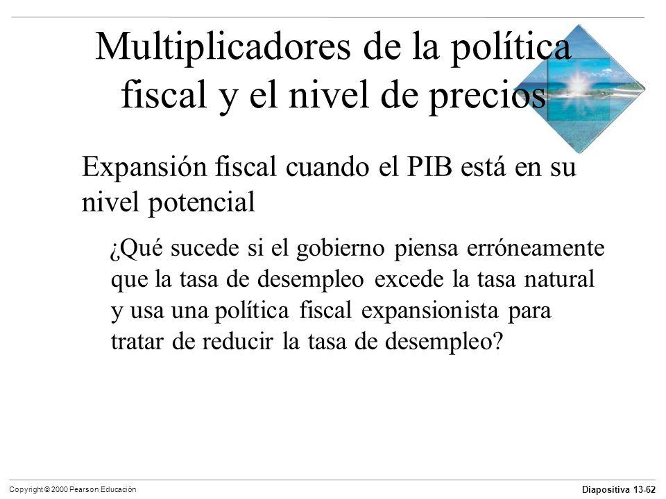 Diapositiva 13-62 Copyright © 2000 Pearson Educación Multiplicadores de la política fiscal y el nivel de precios Expansión fiscal cuando el PIB está e