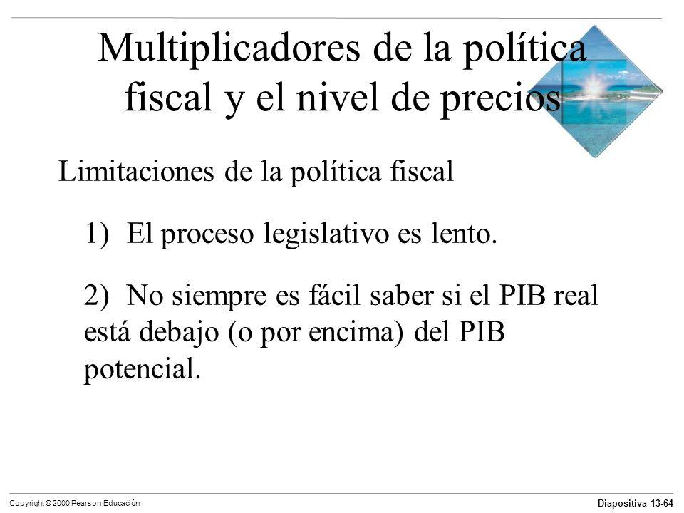 Diapositiva 13-64 Copyright © 2000 Pearson Educación Multiplicadores de la política fiscal y el nivel de precios Limitaciones de la política fiscal 1)