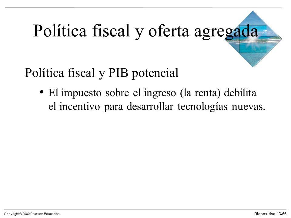 Diapositiva 13-66 Copyright © 2000 Pearson Educación Política fiscal y oferta agregada Política fiscal y PIB potencial El impuesto sobre el ingreso (l