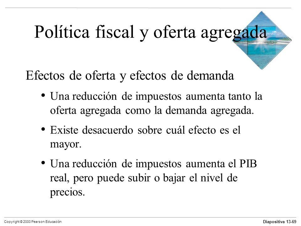 Diapositiva 13-69 Copyright © 2000 Pearson Educación Política fiscal y oferta agregada Efectos de oferta y efectos de demanda Una reducción de impuest