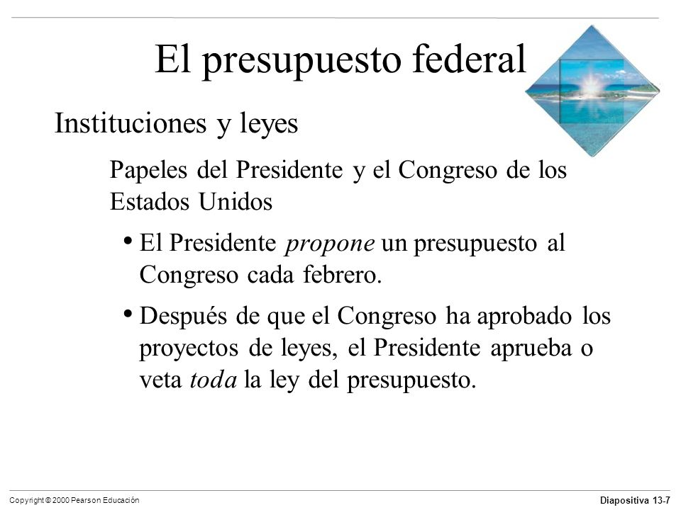 Diapositiva 13-8 Copyright © 2000 Pearson Educación El presupuesto federal Instituciones y leyes Papeles del Presidente y el Congreso El Presidente no tiene poder de veto para eliminar rubros específicos de la ley del presupuesto y aprobar otros; esto se conoce como el veto por renglón.