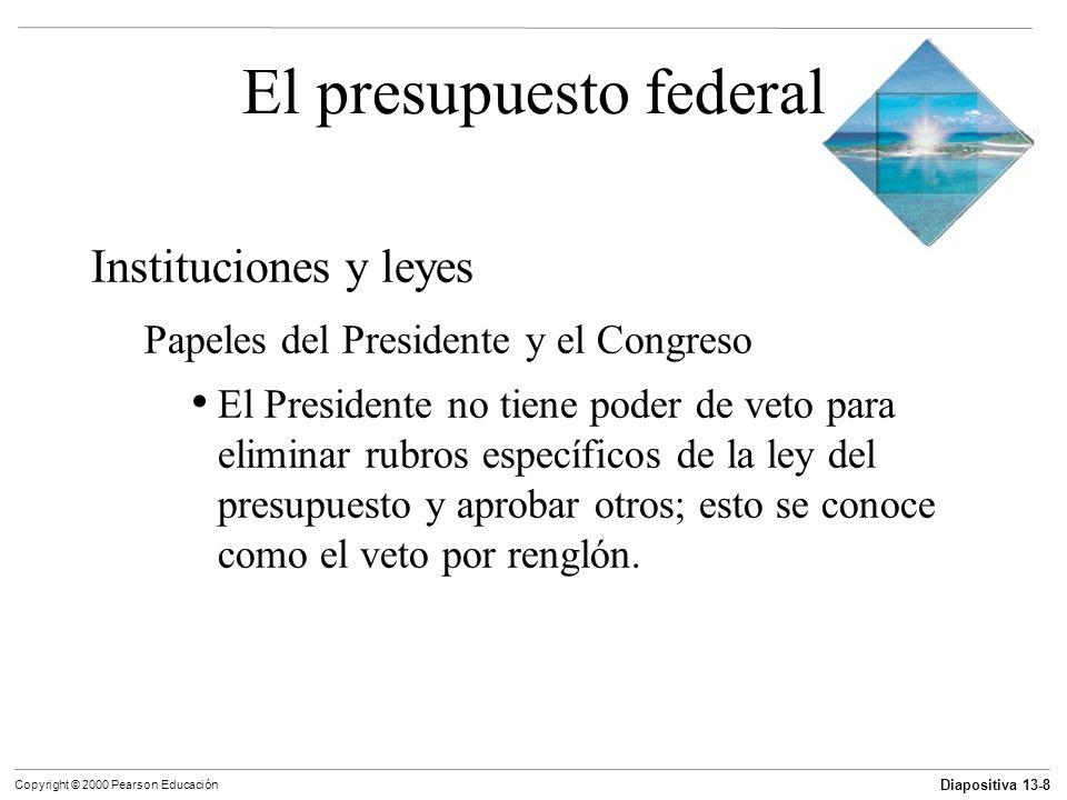 Diapositiva 13-8 Copyright © 2000 Pearson Educación El presupuesto federal Instituciones y leyes Papeles del Presidente y el Congreso El Presidente no