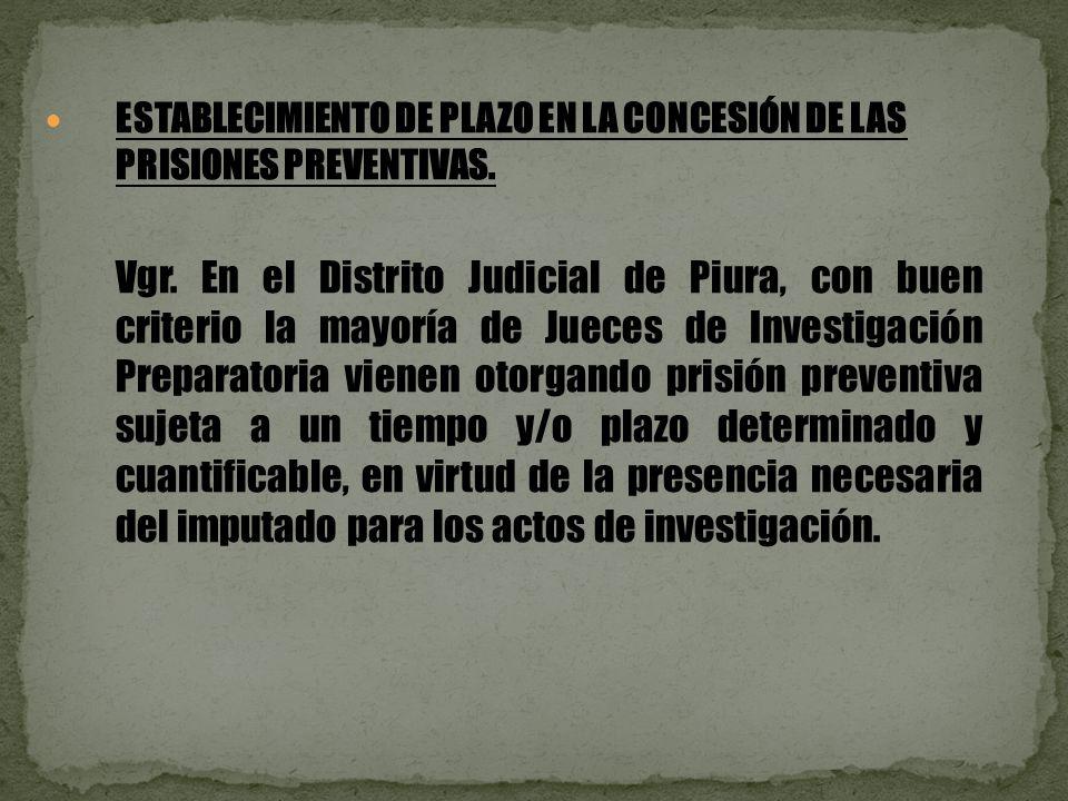 ESTABLECIMIENTO DE PLAZO EN LA CONCESIÓN DE LAS PRISIONES PREVENTIVAS.