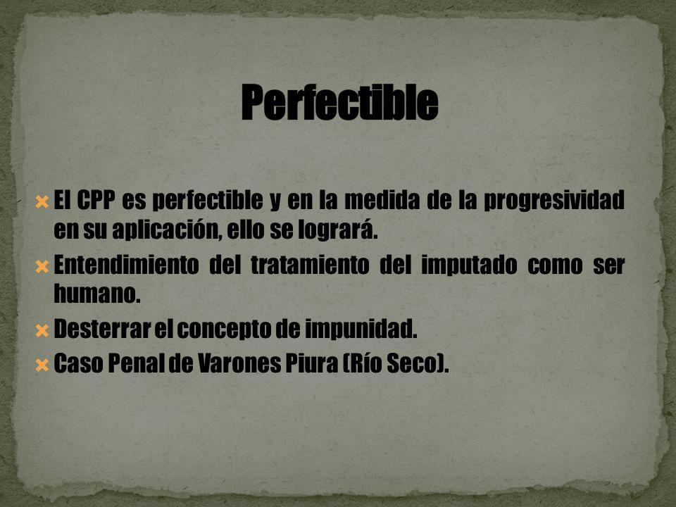 El CPP es perfectible y en la medida de la progresividad en su aplicación, ello se logrará.