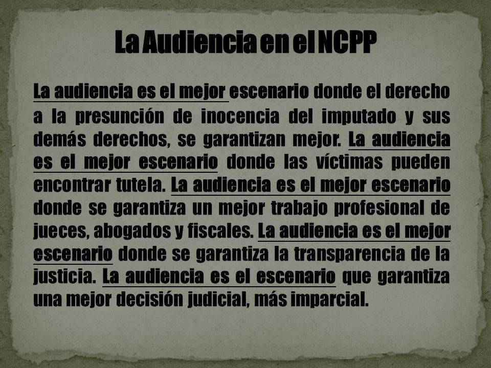 La audiencia es el mejor escenario donde el derecho a la presunción de inocencia del imputado y sus demás derechos, se garantizan mejor.