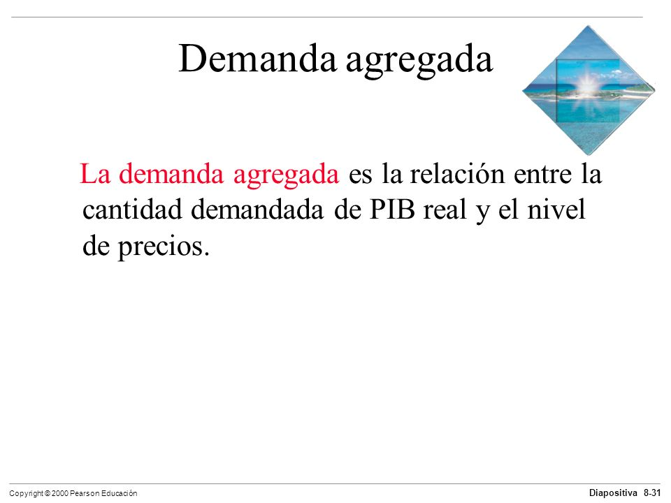 Diapositiva 8-31 Copyright © 2000 Pearson Educación Demanda agregada La demanda agregada es la relación entre la cantidad demandada de PIB real y el n