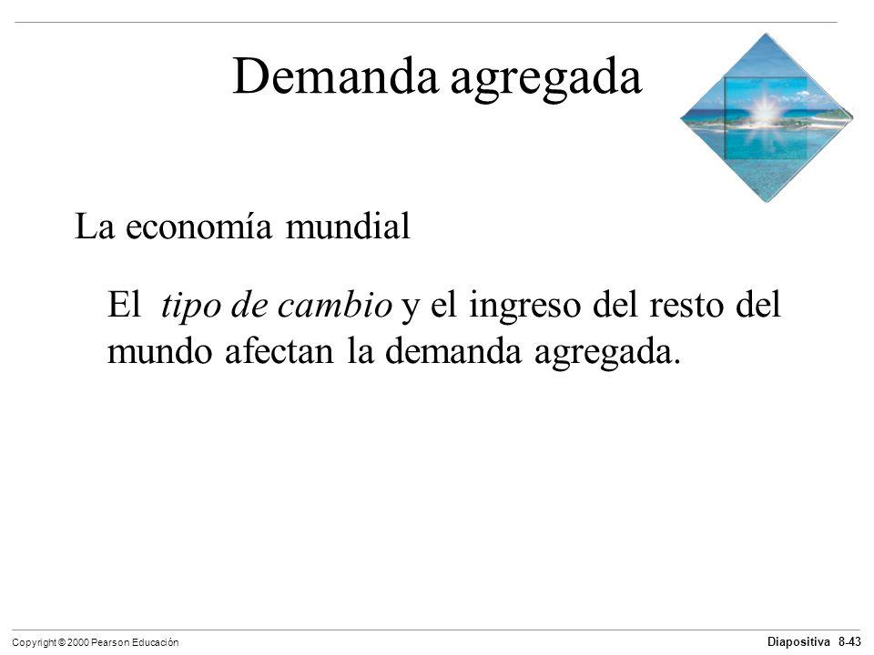Diapositiva 8-43 Copyright © 2000 Pearson Educación Demanda agregada La economía mundial El tipo de cambio y el ingreso del resto del mundo afectan la