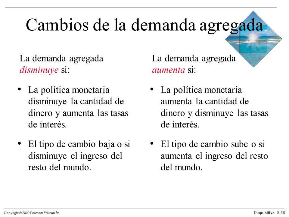 Diapositiva 8-46 Copyright © 2000 Pearson Educación La política monetaria disminuye la cantidad de dinero y aumenta las tasas de interés. El tipo de c