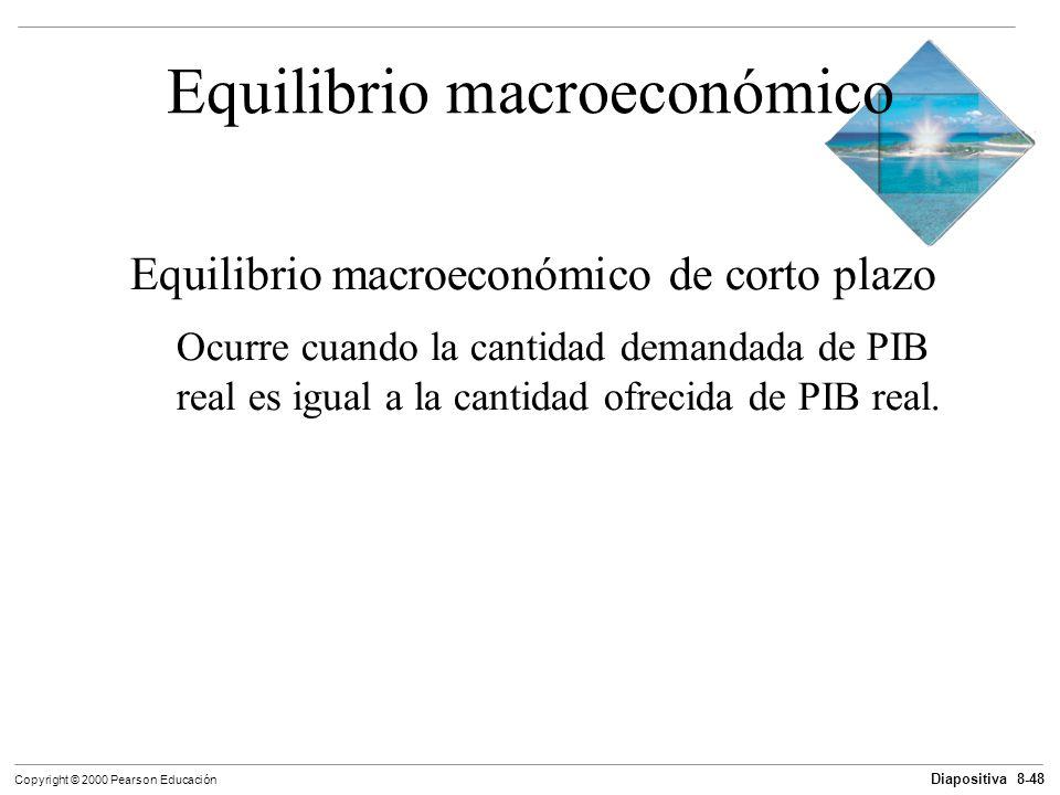 Diapositiva 8-48 Copyright © 2000 Pearson Educación Equilibrio macroeconómico Equilibrio macroeconómico de corto plazo Ocurre cuando la cantidad deman