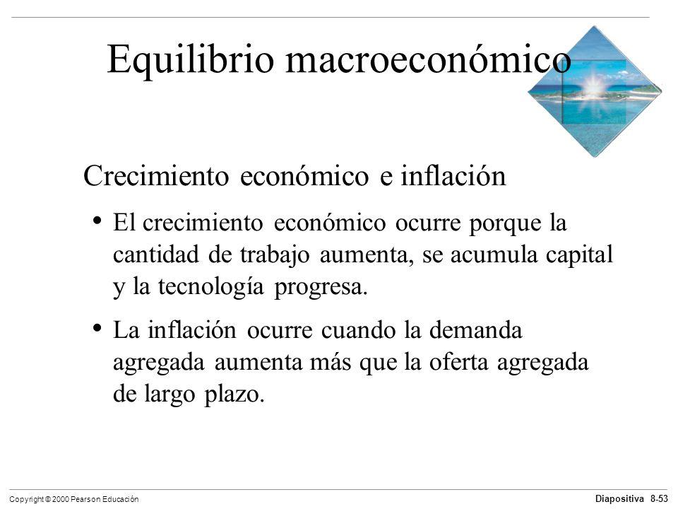 Diapositiva 8-53 Copyright © 2000 Pearson Educación Equilibrio macroeconómico Crecimiento económico e inflación El crecimiento económico ocurre porque